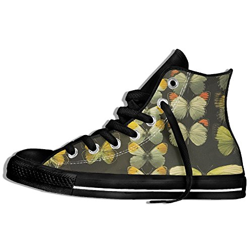 Classic High Top Sneakers Canvas Shoes Anti-Skid Butterfly Specimen Casual Walking For Men Women Black viBCM0I