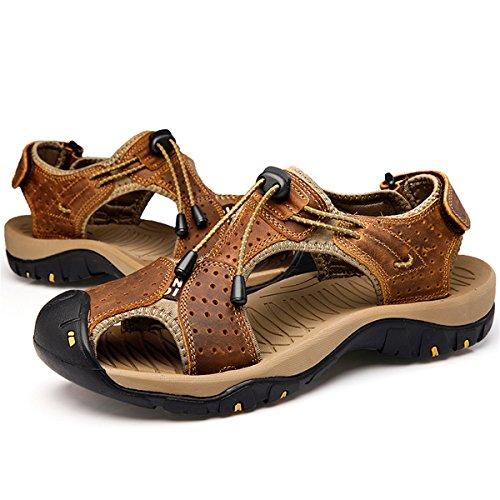 Deportivas Gracosy Pescador Antideslizante Moda Senderismo Zapatos Casual Playa Cerrado Cómodo Hombres Calzado Caminata Verano Sandalias Respirables Caqui Cuero De Diapositivas Para 1rU15qS