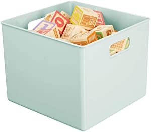 """mDesign Plastic Home Storage Organizer Bin for Cube Furniture Shelving in Office, Entryway, Closet, Cabinet, Bedroom, Laundry Room, Nursery, Kids Toy Room - 10"""" x 10"""" x 7.5"""" - Mint Green"""