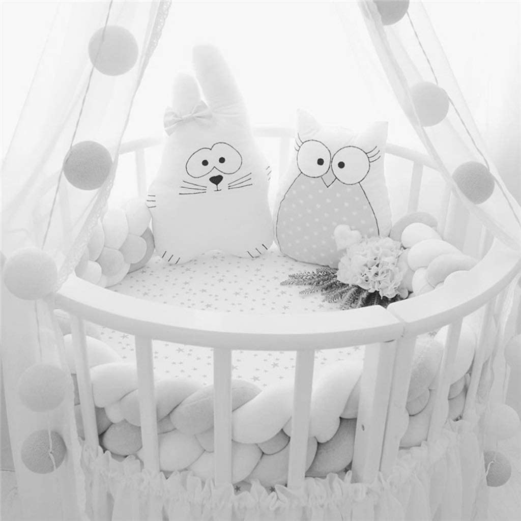 Color : A, Size : 2m 3m Long Knotted Cot Soft Bedding Cushion Plush Pillow Cradle Decor Newborn Gift for Toddler ZHZG Handmade Knit Throw Baby Crib Bumper Knotted Braided