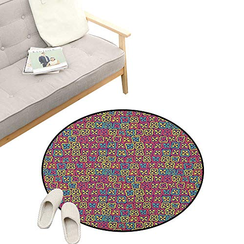 Colorful Round Rugs for Bedroom ,Flowers Clover Petals Mosaic Style Mother Nature Spring Season Baby Childish Kids, Skid Resistant Rug Pet Pad 39