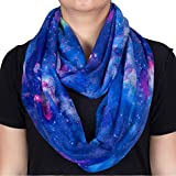 #4: Nebula Galaxy Interstellar Print Blue Color Women Infinity Loop Scarf