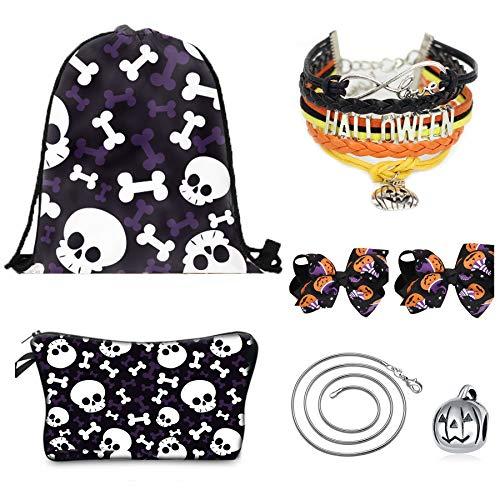 CMK TRENDY KIDS Christmas Day Gifts for Girls - Halloween Drawstring Backpack/Makeup Bag/Bracelet/Inspirational Necklace/Hair Ties Deep -