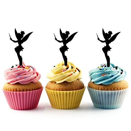 TA0023 Tinkerbell Peter Pan Silhouette Party Wedding Birthday Acrylic Cupcake Toppers Decor 10 pcs (Tinkerbell Silhouette)
