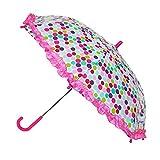 CTM Kids' Polka Dot Print Stick Umbrella with Ruffled Edge, Multi-Color