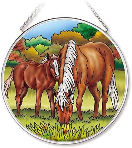 Amia Mamas Care Horse Glass Circle Suncatcher