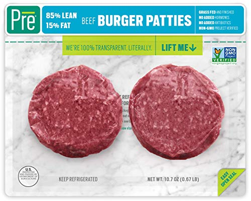 Pre, 85% Lean Burger Patties - 100% Grass-Fed, Grass- Finished, and Pasture-Raised Beef-  10.66oz.  (2 pack)