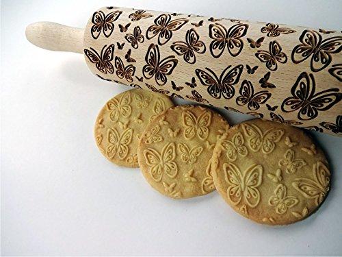 Embossing rolling pin BUTTERFLIES. Laser engraved dough roller with BUTTERFLIES pattern