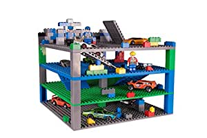"""Classic Trap & Gap 10"""" x 10"""" Blue, Green, Gray Baseplate 4 Pack by Strictly Briks 