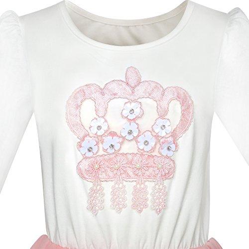 Long 4 Dress Princess Dress Girls Sleeve Pink Ribbon Size Years Birthday Crown White 8 wvvqZxpU5