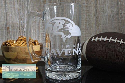 Baltimore Ravens Jumbo 28.5oz Hand Etched Glass Beer Mug by AM Designwerks