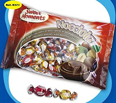 DISOK - Bombones Relleno Crema De Avellana (Bolsa 1 Kg) - Bombones para decoraciones y detalles, regalos de Bodas Baratos