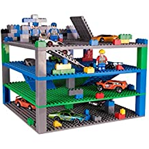 """Strictly Briks Classic Trap & Gap 10"""" x 10"""" Blue, Green, Gray Baseplate 4 Pack by 2 Base Plates, 2 Trap Door & Gap Baseplates, 15 Stackers,   100% Compatible with All Major Brands"""