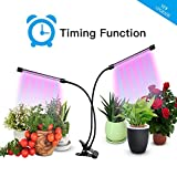 THINK LED Plant Grow Light, Indoor Plant Light, Dual Head Timing Grow Lamp,36 LED Chips with Red/Blue Spectrum,360 Degree Adjustable Gooseneck,5 Dimmable Levels,3/6/12H Timer, for Vegetative&Flowering