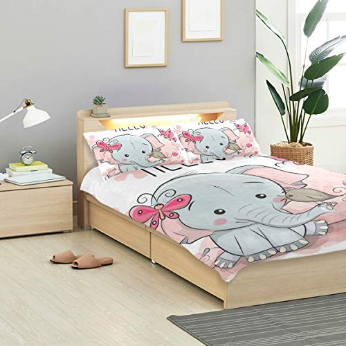- CANCAKA Greeting Duvet Cover Set Greeting Card Cute Cartoon Elephant Bird Design Bedding Decoration Twin Size 3 PC Sets 1 Duvets Covers with 2 Pillowcase Microfiber Bedding Set Bedroom Decor Accessor