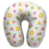 Giinly Tropical Fruits and Ice Cream Memphis Style U Type Travel Neck Pillows Super Soft Cervical Comfortable Pillows with Resilient Material
