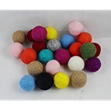 WellieSTR 20 Pieces Yarn Place Felt Wool Balls Wool Felt Balls - Pure Wool Beads 30mm (Random Colors)