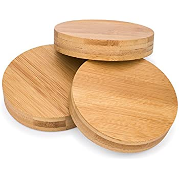 Decorative Mason Jar Lids | Bamboo Lid Covers | By Simple Life Cycle (Wide Mouth, 3 Pack)