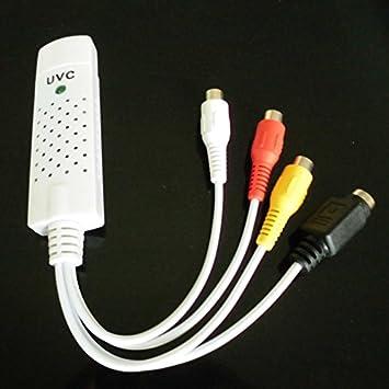 Tarjeta de captura de vídeo Sintonizador de TV USB 2.0 UVC con audio TV DVD VHS Audio AV adaptador ordenador CCTV cámara Soporte Ventana 7/8 XP: Amazon.es: ...