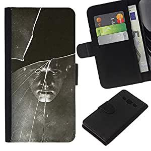 KingStore / Leather Etui en cuir / Samsung Galaxy A3 / Negro Blanco vintage retro de la foto;