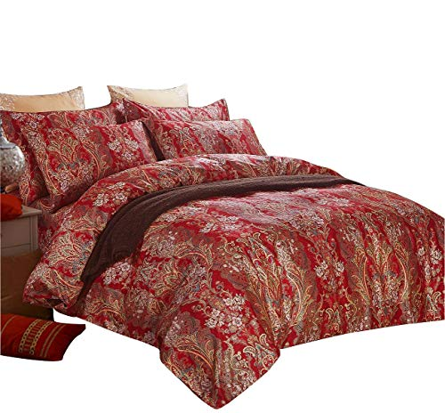 SexyTown Paisley Print Luxury Duvet Cover Set King Chinese Traditional Red Asian Bedding King Chinese Wedding Duvet Cover Set with 1 Duvet Cover and 2 Pillowcases 100% Egyptian Cotton