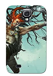 Hot New Art Man Bow Gun Metal Taoo Taoos Dreadlock Warrior Warriors Case Cover For Galaxy S4 With Perfect Design wangjiang maoyi