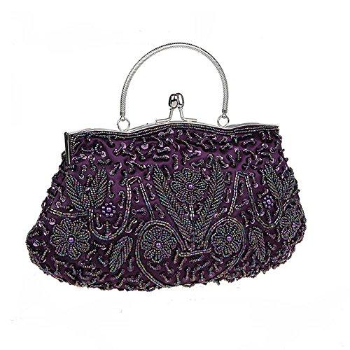 Bopstyle Purse Floral Wallet Evening Beaded Handbag Purple Handel Womens Frame Party Top Clutch 4rRFz4q