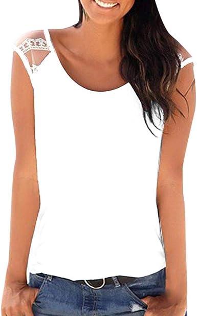 ZODOF Top Sin Mangas Mujer Fiesta Camisetas Sin Manga Mujer Camisetas Mujer Verano Blusa Mujer Sport Tops Mujer Verano Camisetas Mujer Fiesta Elegante Camisetas Mujer: Amazon.es: Ropa y accesorios