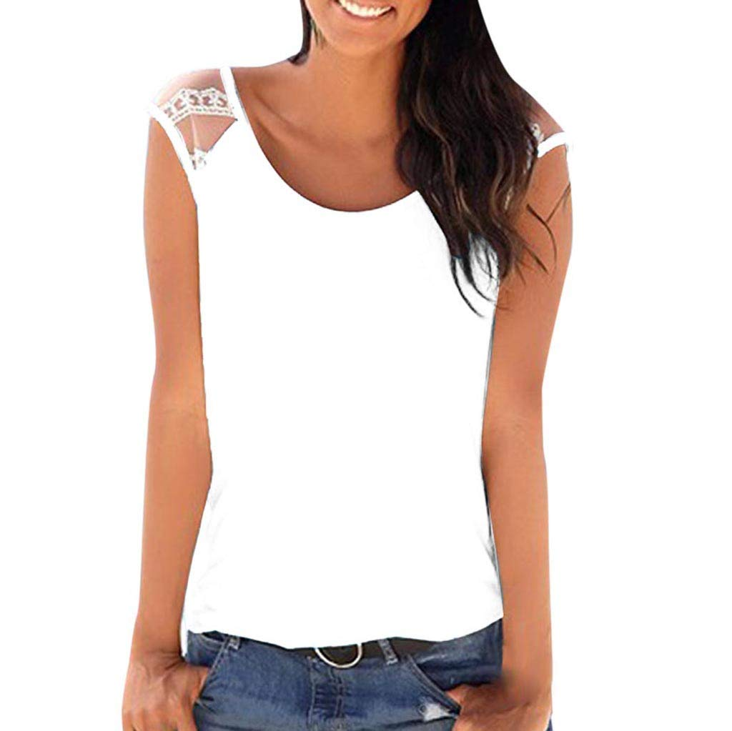 Bohelly ♚♚ Sleeveless Swing Tunic Summer Casual Lace Vest Sleeveless Tank Tops for Women Tank Lace Off Shoulder White