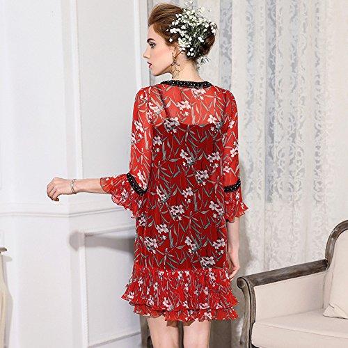 Sexy Cotyledon V Color Neck Dresses Suit Printed Autumn Dress Women