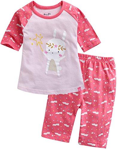 Vaenait baby Girls 3/4 Sleeve Raglan Top and Shorts 2pcs Set Magic Bunny L