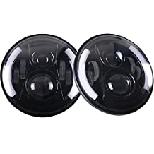 """SELO Pair 7"""" LED Headlight with Side Halo Angel Eye 5000K Hi/lo Beam and DRL lamp for Jeep Wrangler JK - TJ Harley Davidson with H4 Plug H4-h13 Adapter"""