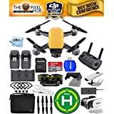 DJI Spark Fly More Combo EXTREME ACCESSORY BUNDLE With Landing Pad, 32GB Micro SD Card Plus Much More (Sunrise Yellow)