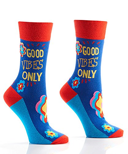 Yo Sox Good Vibes Funky Women's Crew Socks for Dress or Casual Wear Size ()
