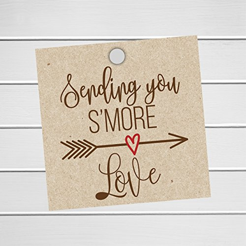 24 S'More Love Tags, Kraft Wedding Favor Tags for Smores, Sending you S'More Love (SQ-181-KR) (Sand Love Grass)