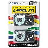 Casioamp;reg; Tape Cassettes for KL Label Makers, 12mm x 26ft, Black on White, 2 per Pack