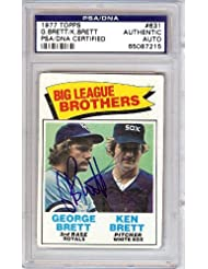 George  amp; Ken Brett Autographed Hand Signed 1977 Topps Card PSA DNA #65087215