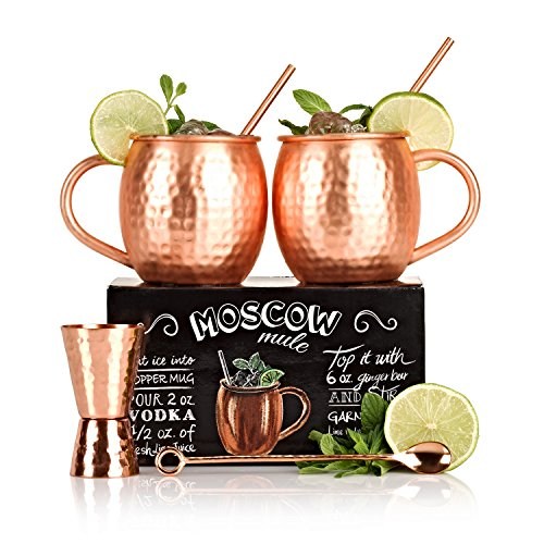 the-full-moscow-mule-kit-set-of-two-16-oz-copper-mugs-100-solid-copper-hammered-cups-unique-extras-j