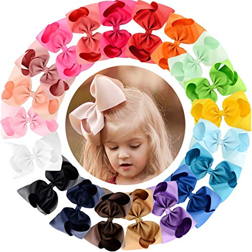 20pcs Hair Bows for Girls 8 Big Boutique Bow Alligator Clips Grosgrain Ribbon Hair Accessories Toddlers Kids Teens