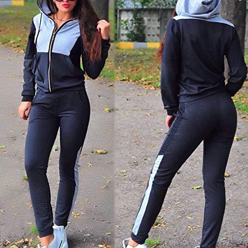 Fashion Women Casual Splice Zipper Long Sleeves Tracksuit Sweatshirt Pullover Sport Tops+Pants Hoodies Anime Hoodie Set by iLUGU (Image #3)