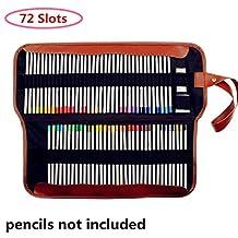 Yosoo Canvas Pencil Roll,72 Colored Pencils Insert Holder Organizer,Multi-Purpose Pencil Bruch Case Pouch For School Office and Art