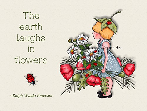 Earth Laughs in Flowers, Emerson Quote, Girl with Flowers, Ladybugs: Whimsical Art, 8