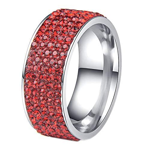 (Rows Crystal Stainless Steel Ring Women for Elegant Full Finger Love Wedding Engagement Rings Jewelry Men,11,Red)
