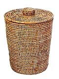 KOUBOO 1030073 La Jolla Rattan Round Waste Basket with Plastic Insert & Lid, 9.5' x 9.5' x 12.5', Honey Brown