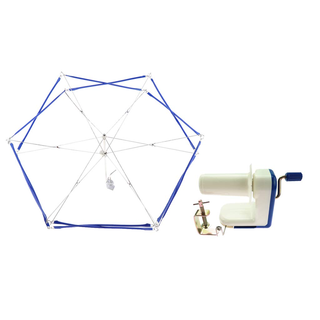 Prettyia Small Yarn Ball Winder and Yarn Umbrella Swift with Skein Holder Basic Combo Set