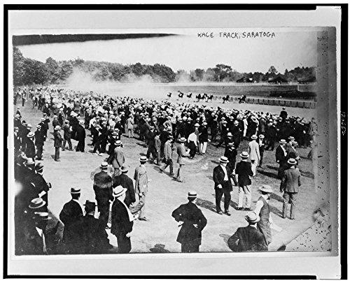 1913 Photo Horse racing - race track, Saratoga, July 1913 Horses racing and spectators, Saratoga, New York. Location: New York, (Saratoga Race)