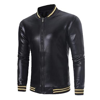 Beladla De Cuero De Abrigos De Moda para Hombre Chaqueta Mens Costura Jacket Outerwear Leather Top: Amazon.es: Ropa y accesorios