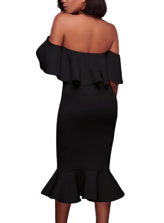 678112ed933b AlvaQ Women's Off The Shoulder Ruffle Evening Party Bodycon Mermaid Midi  Dress at Amazon Women's Clothing store: