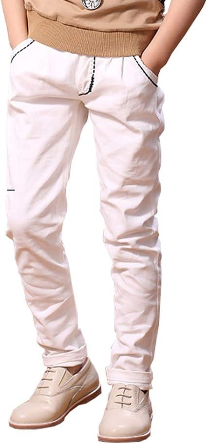 Littlexin Oneboy Pantalones De Cintura Elastica Para Ninos De 3 A 10 Anos Blanco 7 8 Years Height 130cm Amazon Com Mx Ropa Zapatos Y Accesorios