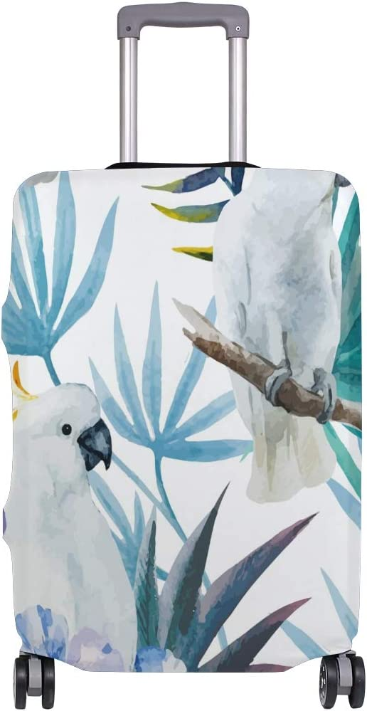 GIOVANIOR Watercolor Parrot Flowers Luggage Cover Suitcase Protector Carry On Covers